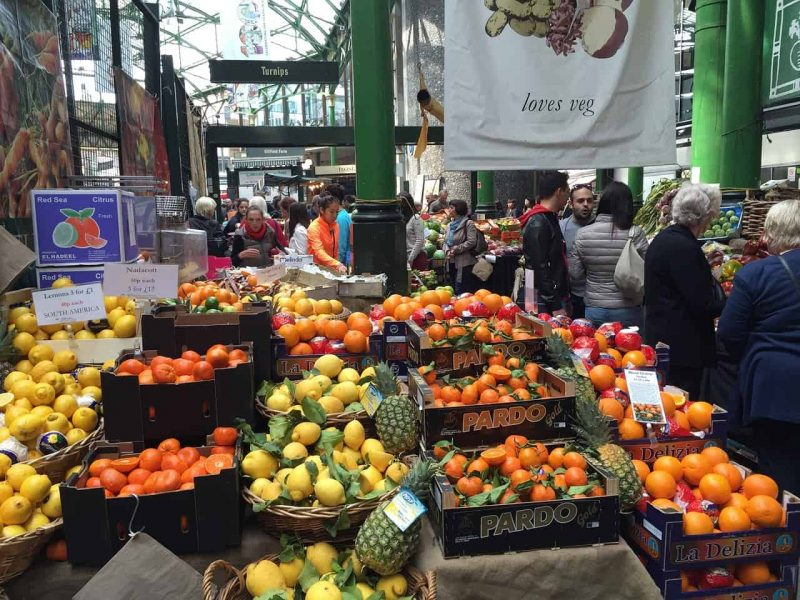 Fruit and vegetable stall at Borough Market London