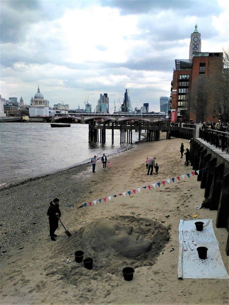 Sand sculpture on the beach by Gabriel's Wharf London