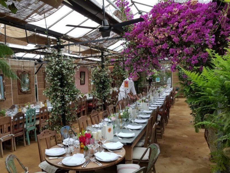 Table set indoors at Petersham Nurseries, Surrey