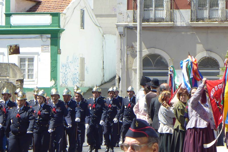 Fiesta with parade of volunteer fireman in Caldas da Rainha Portugal