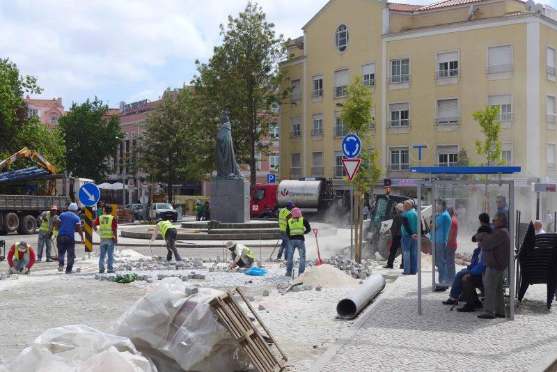 Workers fixing the pavement in Caldas da Rainha, Portugal