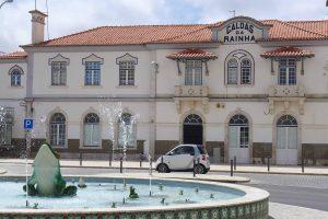 Railway station with fountain in front, Caldas da Rainha, Portugal