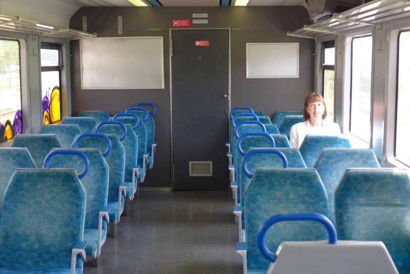 Lone woman passenger on the train from Lisbon to Caldas da Rainha, Portugal