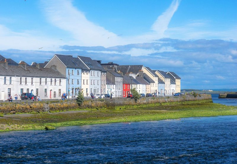View of houses along the coast at Galway Ireland