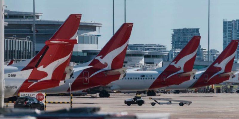 Qantas airplanes lined up at Sydney airport Australia