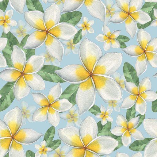 Frangipani print fabric swatch