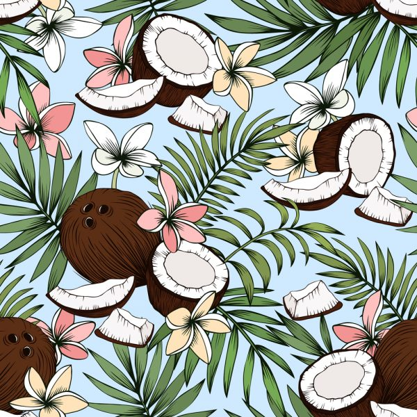Tropical coconut print fabric swatch