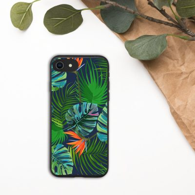 Biodegradable iPhone case in a tropical leaf and bird of paradise pattern