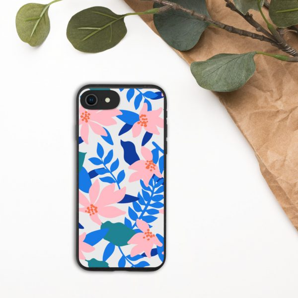 Biodegradable iPhone case with blue leaves and pink flower oriental pattern
