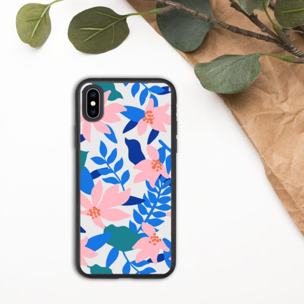 Biodegradable iphone case with pink flowers and blue leaves
