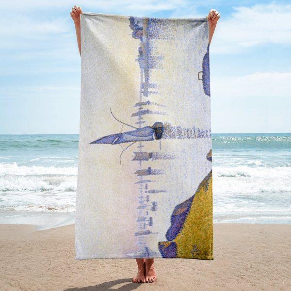 Beach towel based on the painting Evening calm, Concarneau by Paul Signac