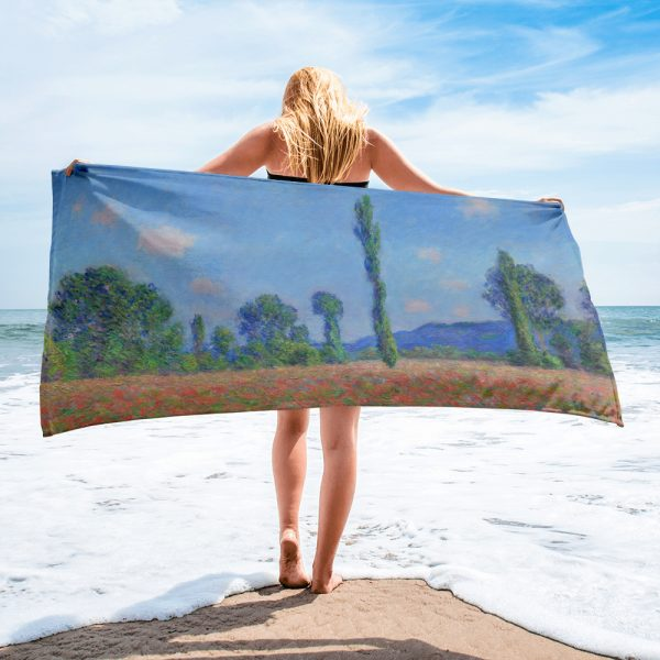 Beach towel based on the painting Poppy field at Giverny by Claude Monet