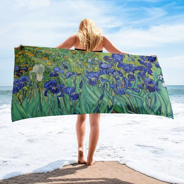 Beach towel based on Irises - painting by Vincent Van Gogh